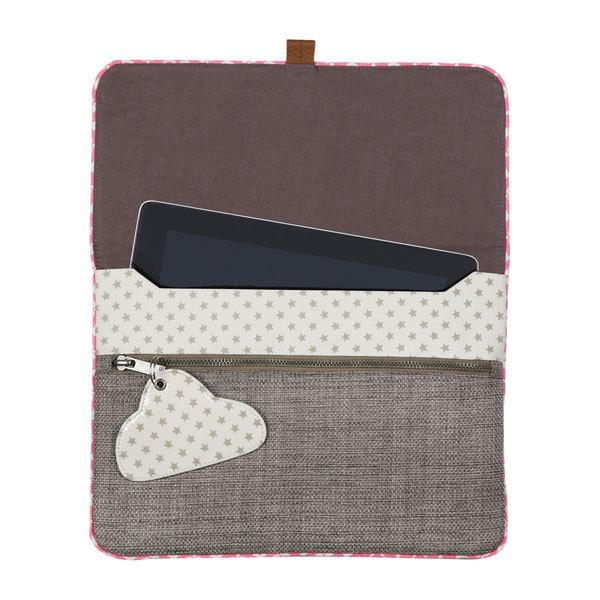 pochette tablette birdy en coton gris chin la vie devant soie. Black Bedroom Furniture Sets. Home Design Ideas