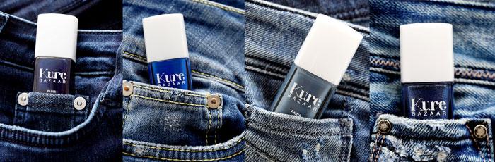 Collection des vernis à ongles bleus Jeans de Kure Bazaar